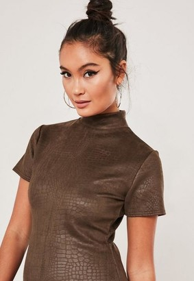 Missguided Brown High Neck Croc Detail Mini Dress