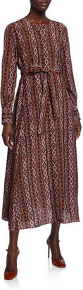Lafayette 148 New York Coleen Long-Sleeve Belted A-Line Kilim-Print Silk Dress