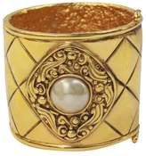 Chanel Iconic Quilted Pattern Medallion and Pearl Center Cuff Bracelet
