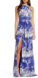 Mark And James Badgley Mischka Floral Print Drape Front Maxi Dress