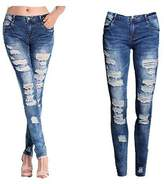 Taiduosheng WOMENS PLUS SIZE Stretch Distressed Ripped BLUE SKINNY DENIM JEANS PANTS
