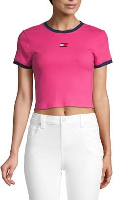 DKNY Ribbed Stretch-Cotton Cropped Top