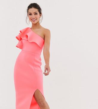 True Violet exclusive one shoulder frill dress-Pink