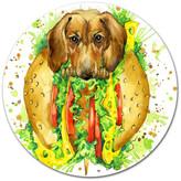 "Design Art Usa Funny Dog Inside Sandwich, Animal Art Disc Metal Wall Art, 23"""