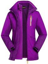 Oncefirst Women's Hoodie Fleece Warm 2 Piece Outdoor Active Jacket 3XL