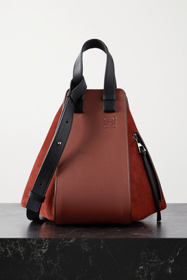 Loewe Hammock Small Paneled Leather And Suede Tote - Red