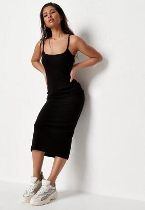 Missguided Black Ribbed Strappy Bodycon Midi Dress