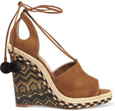 Aquazzura Palm Springs Cutout Suede Espadrille Wedge Sandals - Tan