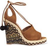 Aquazzura Palm Springs Cutout Suede Espadrille Wedge Sandals - Tan