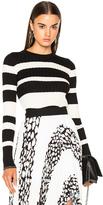 Proenza Schouler Ultrafine Striped Rib Long Sleeve Crewneck Sweater in Black,Stripes,White.