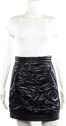 Chanel 2018 Black Quilted Nylon Coco Neige Camellia Skirt (Size 34, Nwt)