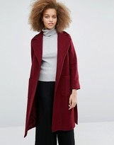 Helene Berman Becca Tie Waist Coat in Burgundy