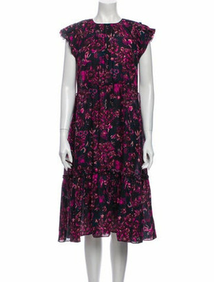 Ulla Johnson Floral Print Midi Length Dress Purple