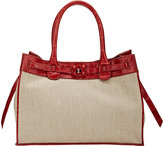 Zagliani Women's Crocodile-Trim Gatsby Small Tote-TAN
