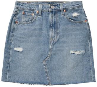 Levi's High Waist Raw Hem Distressed Denim Mini Skirt