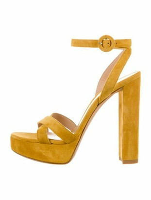 Gianvito Rossi Suede Ankle-Strap Sandals Yellow
