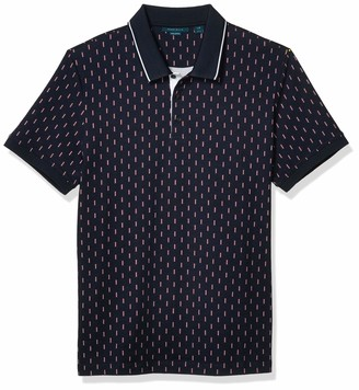 Perry Ellis Men's Pima Cotton Dash Print Short Sleeve Polo Shirt