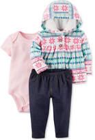Carter's 3-Pc. Hoodie, Bodysuit & Denim Pants Set, Baby Girls