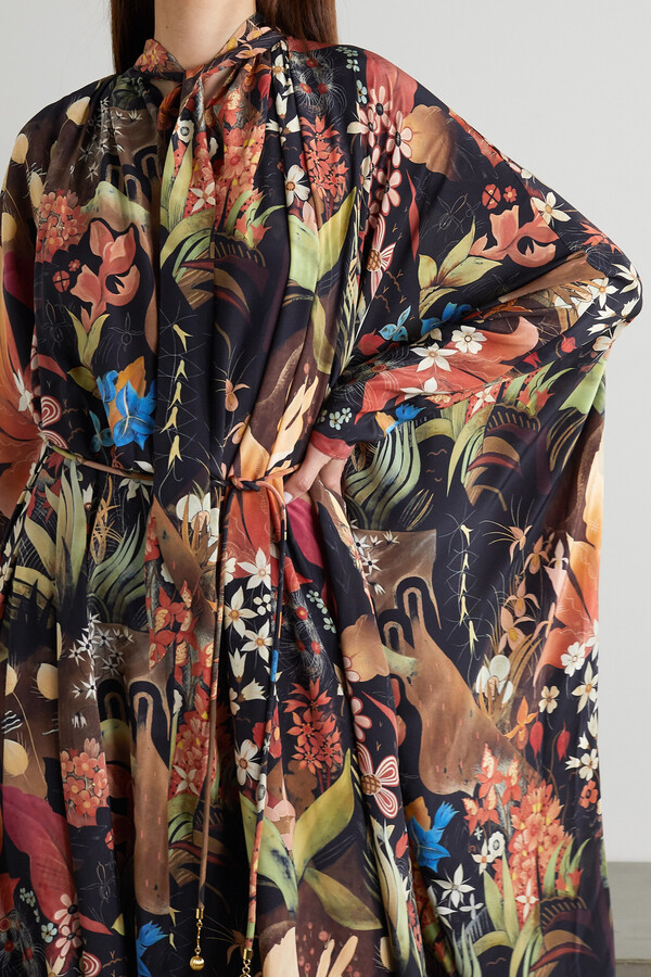 Thumbnail for your product : Lanvin Belted Pussy-bow Floral-print Silk-chiffon Maxi Dress - Black