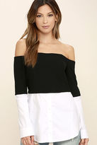 Do & Be Profess Your Love Black and White Off-the-Shoulder Top