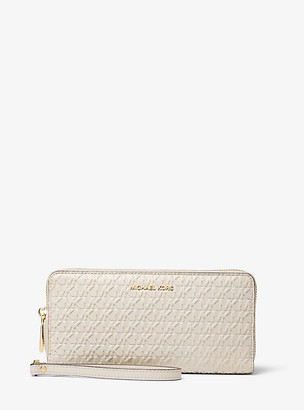 MICHAEL Michael Kors MK Jet Set Logo Debossed Leather Continental Wristlet - Light Sand - Michael Kors