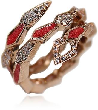Pink Gold Spiral Snake Ring w/ Pave Diamonds&Salmon Pink Enamel
