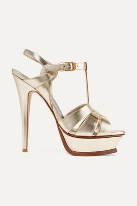 Saint Laurent Tribute Woven Metallic Leather Platform Sandals - Gold