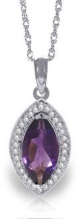 Overstock 1.8 Carat 14K Solid Gold Hayworth Amethyst Diamond Gemstone Necklace