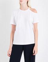 Helmut Lang Asymmetric cold-shoulder cotton T-shirt