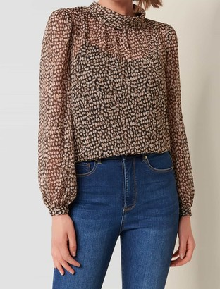 Forever New Caroline Long-Sleeve Blouse - Chocolate Speckle - 10
