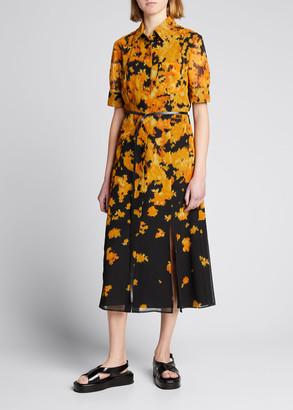 Altuzarra Printed Collared Front-Slit Belted Midi Dress
