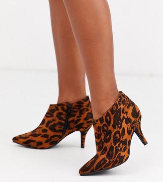 Simply Be Extra Wide Fit Simply Be extra wide fit kitten heel ankle boot in leopard print