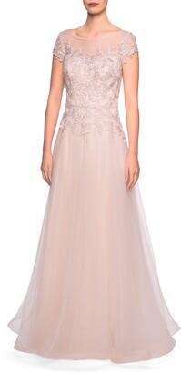La Femme Tulle A-Line Evening Gown