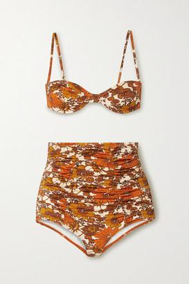 Dodo Bar Or Morgan And Alexia Ruched Floral-print Bikini - Brown