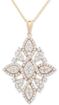 """Wrapped in Love Diamond (1 ct. t.w.) Geometric Pendant Necklace in 14k Gold, 16"""" + 4"""" extender, Created for Macy's"""