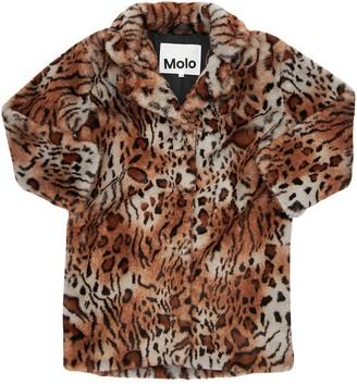 Molo Tiger Print Faux Fur Coat