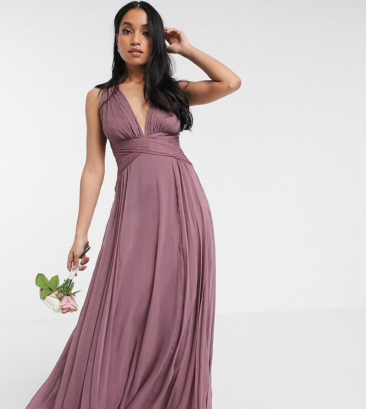 ASOS DESIGN Petite Bridesmaid ruched bodice drape maxi dress with wrap waist
