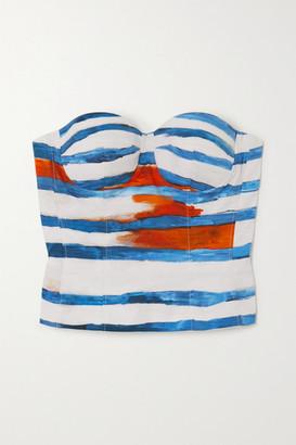 Moschino Cropped Striped Cotton-blend Poplin Top - White