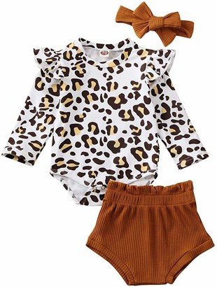 Longfei Newborn Baby Girl Leopard Outfit Clothes Romper Bodysuit Tops +Shorts+ Headnband Outfit 3Pcs (Brown 6-12m)