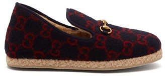 Gucci Fria Gg Logo Jacquard Felt Loafers - Mens - Navy Multi