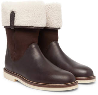 Loro Piana Snow Walk Shearling-Lined Leather And Suede Boots - Men - Brown