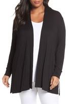 Sejour Plus Size Women's Slub Knit Open Front Cardigan