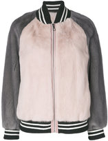 Liska - colour block bomber jacket - women - Mink Fur/Wool - L