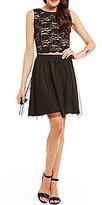Jump Lace Bodice Bead Draped Back Two-Piece Dress