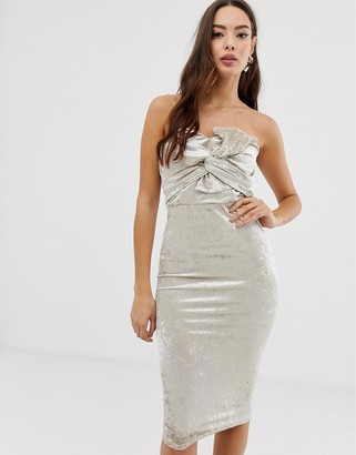 Girl In Mind velvet knot front bandeau dress-Silver