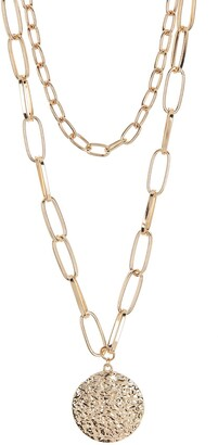 Panacea Gold-Tone Two Row Chain Hammered Disc Pendant Necklace