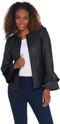 Belle By Kim Gravel Belle by Kim Gravel Faux Leather Jacket w/Double Bell Sleeves