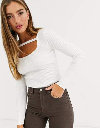 Lost Ink fitted jumper with strap detail-Cream