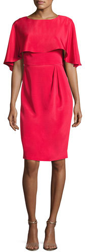 Theia Cape-Sleeve Stretch Silk Cocktail Dress, Red