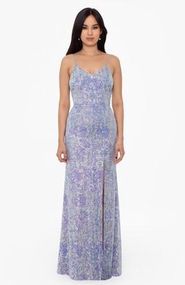 Xscape Evenings Sequin Stripe Slit Gown